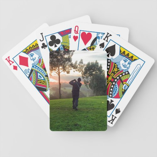 Sunrise Golfer Bicycle Playing Cards