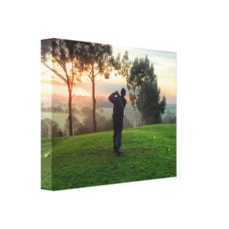 Sunrise Golfer Canvas Prints