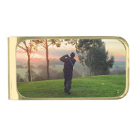 Sunrise Golfer Gold Finish Money Clip