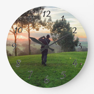 Sunrise Golfer Large Clock