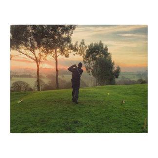 Sunrise Golfer Wood Canvas