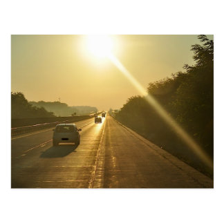 SUNRISE Highway travel cars automobiles driving Postcard
