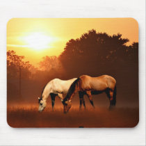 Sunrise horses mouse pad