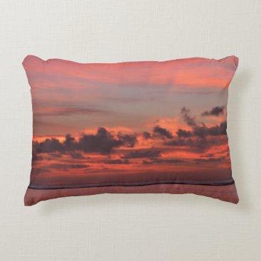 Beach Themed Sunrise in Pinks Pillow