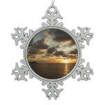 Sunrise in St. Thomas I US Virgin Islands Snowflake Pewter Christmas Ornament