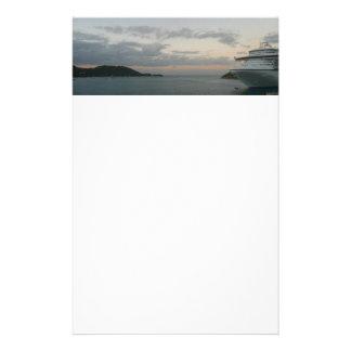 Sunrise in St. Thomas II Cruise Ship Photography Stationery