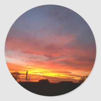 Sunrise in the autumn/morning redness in the autum classic round sticker