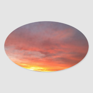 Sunrise in the autumn/morning redness in the autum oval stickers