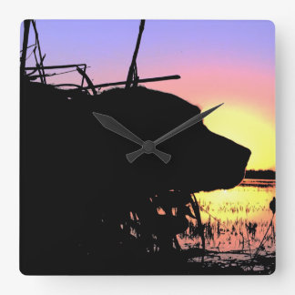 Sunrise in the Duck Blind Square Wall Clock
