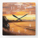 Sunrise in the Tropics Tropical Beach Square Wall Clock