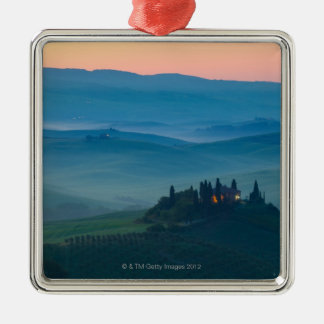 sunrise in the val d?orcia with farmhouse metal ornament