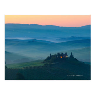sunrise in the val d?orcia with farmhouse postcard