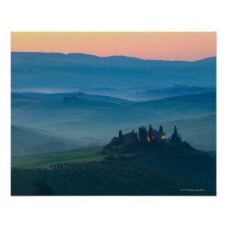 sunrise in the val d?orcia with farmhouse poster