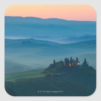 sunrise in the val d?orcia with farmhouse square sticker