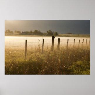 Sunrise lights fog along fence near Charlo Poster