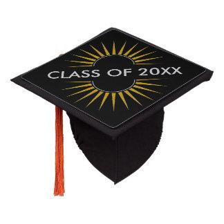 SUNRISE logo gold silver + your Backg. & ideas Graduation Cap Topper