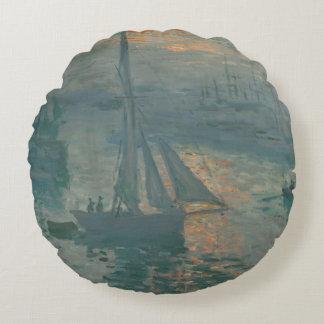 Sunrise (Marine) by Claude Monet Round Pillow
