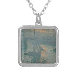 Sunrise (Marine) by Claude Monet Silver Plated Necklace