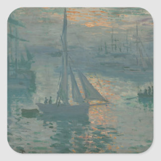 Sunrise (Marine) by Claude Monet Square Sticker