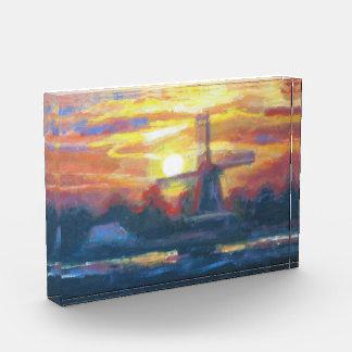 Sunrise Mill Painting Acrylic Block Paperweight Acrylic Award