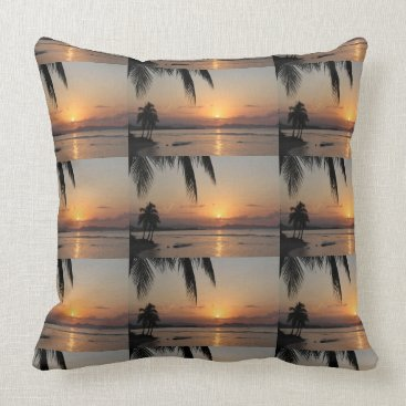 Beach Themed sunrise nature tree faith peace hope love sun sky throw pillow