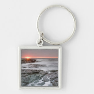 Sunrise near Brenton Point State Park on Ocean Silver-Colored Square Keychain