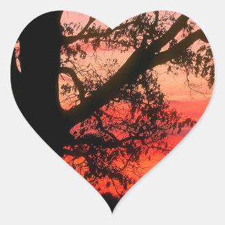 Sunrise Oak Tree Dawn Oldham County Kentucky Heart Sticker