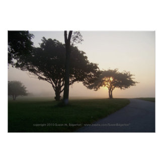Sunrise on a foggy morning poster