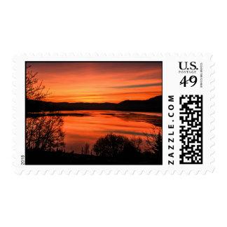 Sunrise on a Scottish Loch Postage Stamp