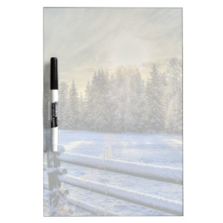 Sunrise on a Winter Pasture in Snow Dry-Erase Board