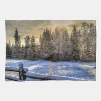 Sunrise on a Winter Pasture in Snow Hand Towel