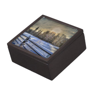 Sunrise on a Winter Pasture in Snow Jewelry Box