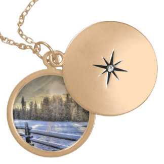 Sunrise on a Winter Pasture in Snow Round Locket Necklace