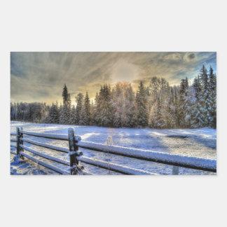 Sunrise on a Winter Pasture in Snow Rectangular Sticker