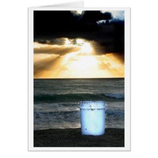 Sunrise on beach orange with blue bucket card