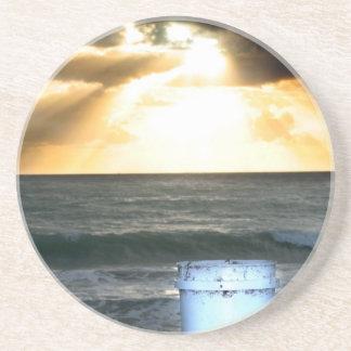 Sunrise on beach orange with blue bucket drink coaster