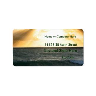 Sunrise on beach orange with blue bucket custom address label