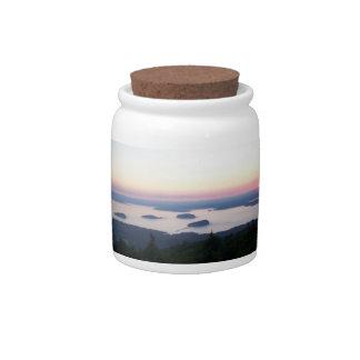 Sunrise on Cadillac Mountain Jar Candy Dish