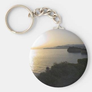 Sunrise On Corfu Island In Greece 3 Basic Round Button Keychain