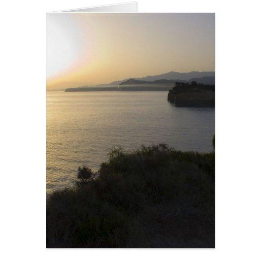 Sunrise On Corfu Island In Greece 3 Greeting Card