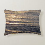 Sunrise on Ocean Waters Blue Abstract Photography Accent Pillow