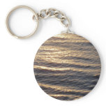 Sunrise on Ocean Waters Blue Abstract Photography Basic Round Button Keychain