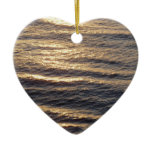 Sunrise on Ocean Waters Blue Abstract Photography Double-Sided Heart Ceramic Christmas Ornament