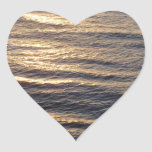 Sunrise on Ocean Waters Blue Abstract Photography Heart Sticker