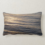Sunrise on Ocean Waters Blue Abstract Photography Lumbar Pillow