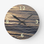 Sunrise on Ocean Waters Blue Abstract Photography Round Clock