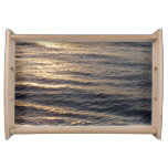 Sunrise on Ocean Waters Blue Abstract Photography Serving Tray