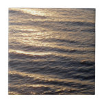 Sunrise on Ocean Waters Blue Abstract Photography Small Square Tile