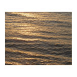 Sunrise on Ocean Waters Blue Abstract Photography Wood Print