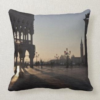 Sunrise on Plaza San Marco Throw Pillow